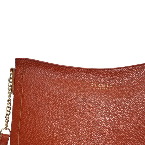Assots London LOUISA - 100% Genuine Leather Handbag with Shoulder Strap (30x7x24cm) - Red