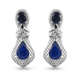 Tanzanian Blue Spinel and Natural Cambodian Zircon Dangling Earrings (with Push Back) in Platinum Ov