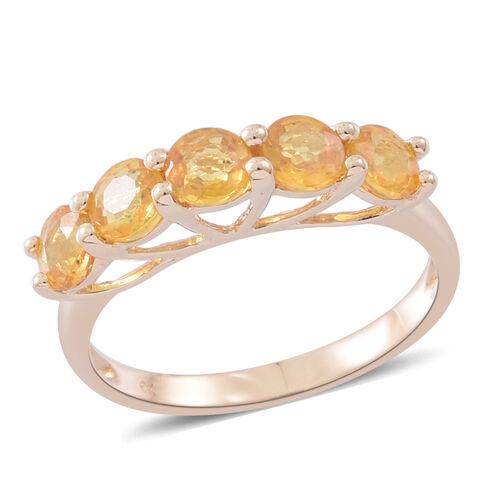 9K Yellow Gold AA Chanthaburi Yellow Sapphire (Rnd) 5 Stone Ring 2.000 Ct.
