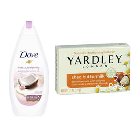 Dove Coconut Milk & Jasmine Body Wash - 500ml & Yardley Shea Buttermilk Soap - 120g