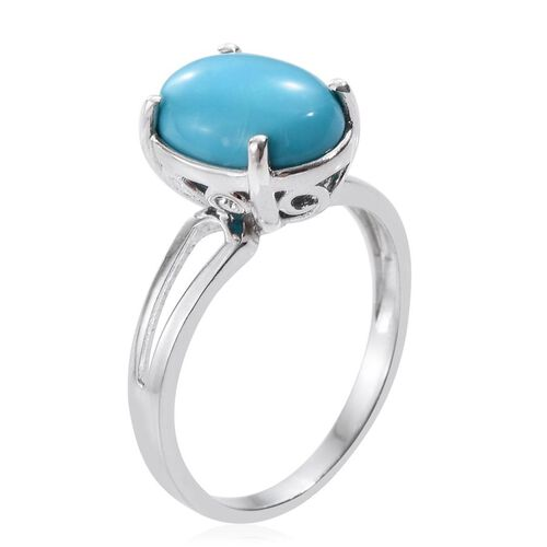 Arizona Sleeping Beauty Turquoise (Ovl) Solitaire Ring in Platinum Overlay Sterling Silver 4.250 Ct.