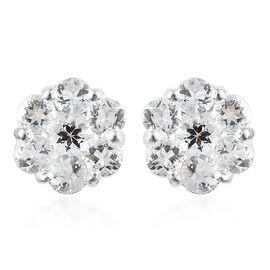 Petalite (Rnd) Pressure Set Floral Earrings in Sterling Silver 1.50 Ct.
