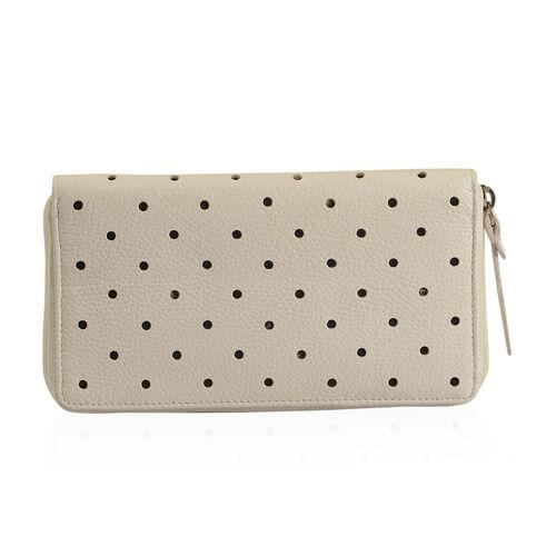 Cecilla Laser Cut Design RFID 100% Genuine Leather Off White Polka Dot Pattern Long Wallet (Size 20x