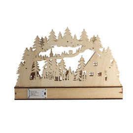 Wooden Christmas Forest Scene LED Battery Operated House with Timer (Size: 40x7.5x27cm) (2xAA Batter