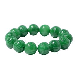 Carved Green Jade Stretchable Bracelet Size 6.5 Inch, 431 Ct