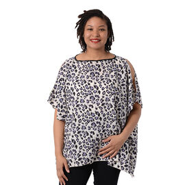 Leopard Print Blouse with Open Shoulder Design in Light Purple (Free Size / Length72 cm)