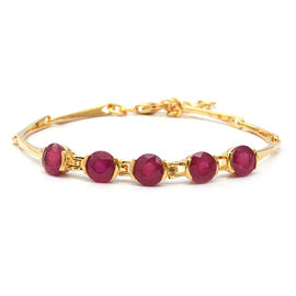 9.84 Ct African Ruby 5 Stone Adjustable Bracelet in Gold Plated Sterling Silver 7.5 Grams
