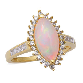 AAA Ethiopian Welo Opal and Cambodian Zircon Ring in 9K Yellow Gold,2.71 Ct