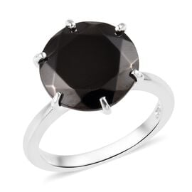 4.25 Ct Elite Shungite Solitaire Ring in Platinum Plated Sterling Silver