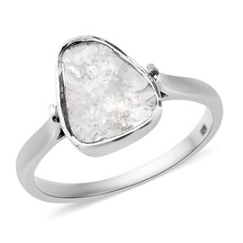 Artisan Crafted Polki Diamond Ring in Platinum Overlay Sterling Silver 0.70 Ct.