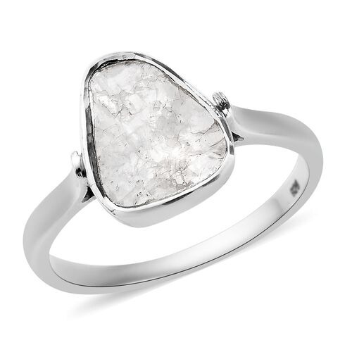 0.70 Ct Polki Diamond Solitaire Ring in Platinum Plated Sterling Silver