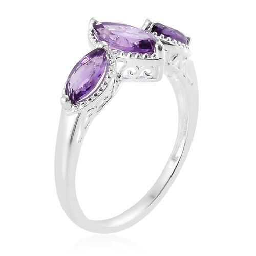 Amethyst (Mrq) 3 Stone Ring in Sterling Silver 1.750 Ct.