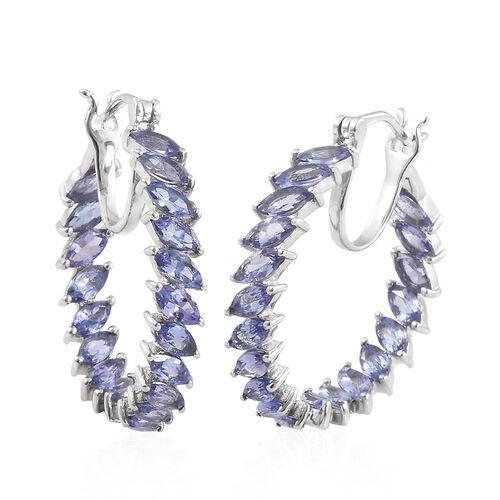 6 Carat Tanzanite Hoop Earrings in Platinum Plated Sterling Silver 6.01 Grams