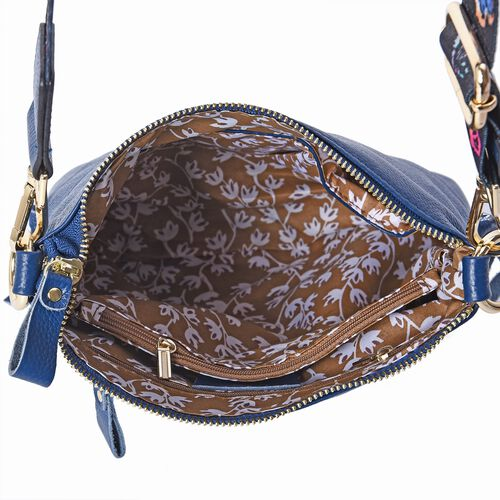 100% Genuine Leather Crossbody Bag with Detachable Butterfly Pattern Shoulder Strap and Front Diagonal Pockets (Size 23x7x22 Cm) - Blue
