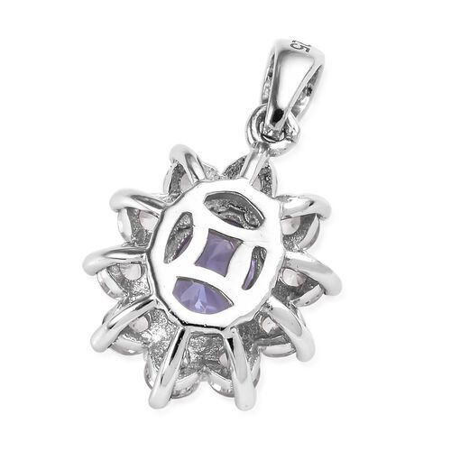Premium Tanzanite (Ovl) 7x5 mm, Natural Cambodian Zircon Pendant in Platinum Overlay Sterling Silver 1.75 Ct.
