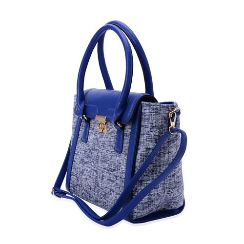 Blue and White Colour Tote Bag with Adjustable and Removable Shoulder Strap (Size 40x30x13 Cm)