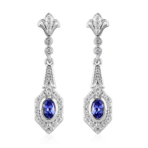 Premium Tanzanite and Natural Cambodian Zircon Dangling Earrings (with Push Back) in Platinum Overla