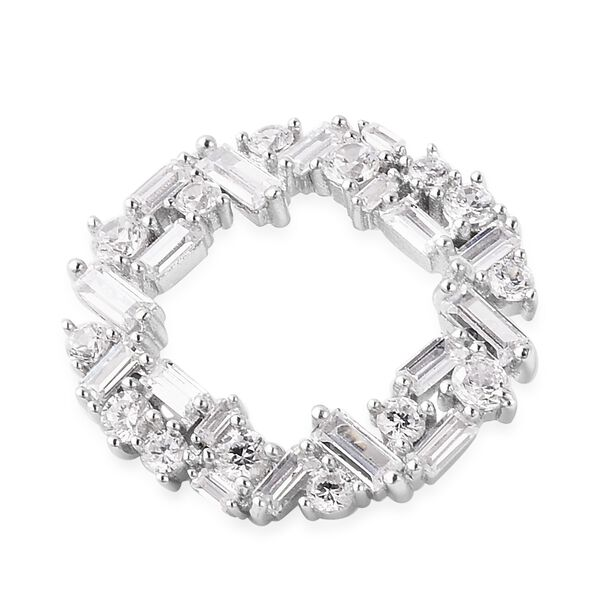 ELANZA Simulated Diamond (Rnd and Bgt) Open Circle Pendant in Rhodium Overlay Sterling Silver