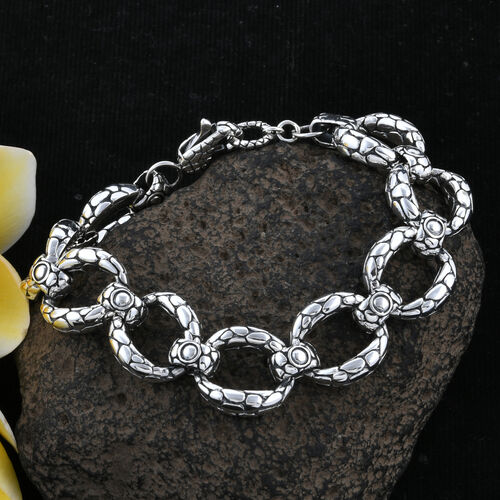 Bali Legacy Collection 18K Yellow Gold and Sterling Silver Pebble Curb Link Bracelet (Size 7), Metal wt 32.15 Gms.