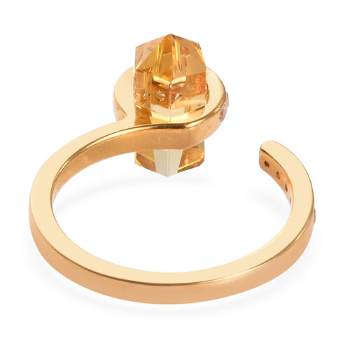Sundays Child - Citrine and Natural Cambodian Zircon Ring in 14K Gold Overlay Sterling Silver 3.25 Ct.