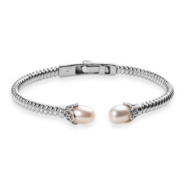Freshwater Pearl Cuff Bangle (Size 7.5) in Platinum Plated