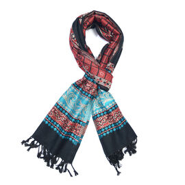 Jacquard Pattern Black, Red and Multi Colour Scarf (Size 70x200 Cm)