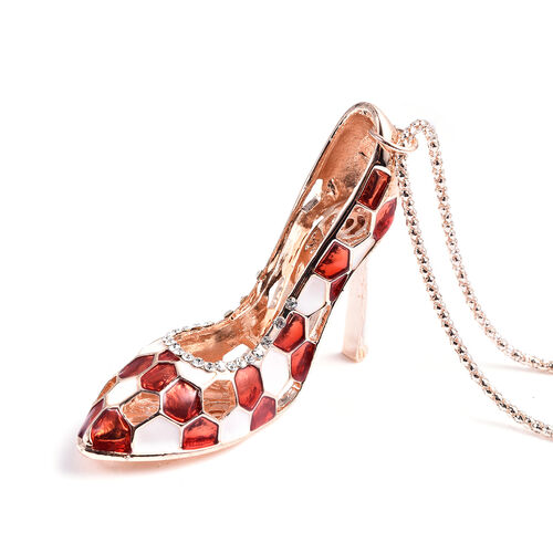 Set of 2 - White Colour Austrian Enamelled Heel Sandal Pendant with Chain (Size 28 with 2 inch Extender) and Compact Mirror in Rose Gold Tone
