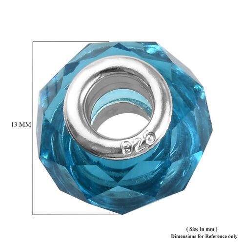 Charmes De Memoire Blue Murano Style  Glass in Platinum Overlay Sterling Silver