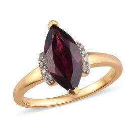Rhodolite Garnet and Cambodian Zircon Marquise Ring in 14K Gold Overlay Sterling Silver 2.50 Ct.