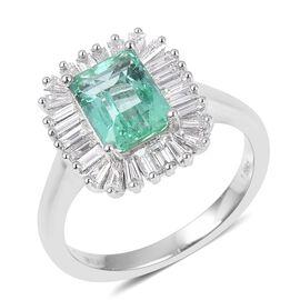 ILIANA 18K White Gold AAA Boyaca Colombian Emerald (Oct) Diamond (SI/G-H) Ring 2.405 Ct, Gold wt 5.18 Gms.