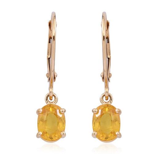 9K Yellow Gold Chanthaburi Yellow Sapphire (Ovl) Lever Back Earrings 2.000 Ct.