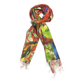 100% Katan Silk Red, Green and Multi Colour Digital Print Bird on Branch Pattern Scarf with Tassels (Size 200x70 Cm) Finish Wt. 100Gms
