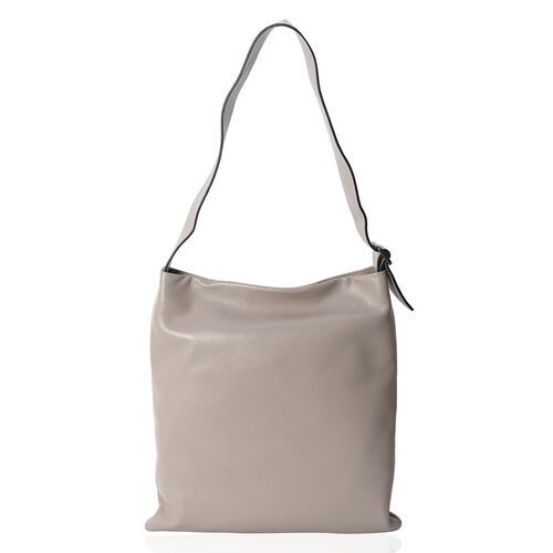 Premium Collection Super Soft  100% Genuine Leather Grey Colour Tote Bag with Adjustable Shoulder Strap (Size 39x36x33 Cm)