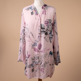 SUGARCRISP Floral Pattern Lightweight Ladies Top in Dusty Pink (Size up to 16)