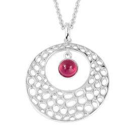 RACHEL GALLEY African Ruby (Rnd) Pendant with Chain (Size 30) in Rhodium Overlay Sterling Silver 1.4
