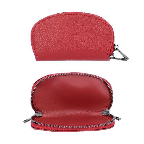 2 Piece Set - 100% Genuine Leather Wristlet Bag (Size 15x3x9cm) and Key/Coin Bag (11x6cm) - Burgundy