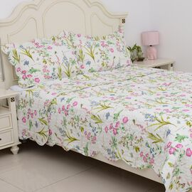 3 Piece Set  - Floral Pattern King Size Summer Quilt (Size 240x260Cm) and 2 Pillow Case (Size 2x50x7