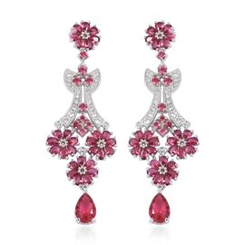 Simulated Ruby and Simulated Diamond Chandelier Earrings in Silver Tone