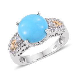 3 Carat Turquoise and Zircon Solitaire Ring in Platinum and Gold Plated Silver