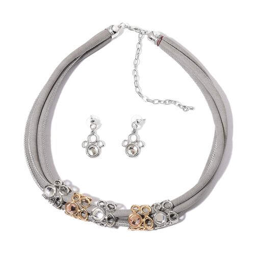 AAA White and Champagne Colour Austrian Crystal Necklace (Size 18) and Earrings in White and Yellow Gold Tone