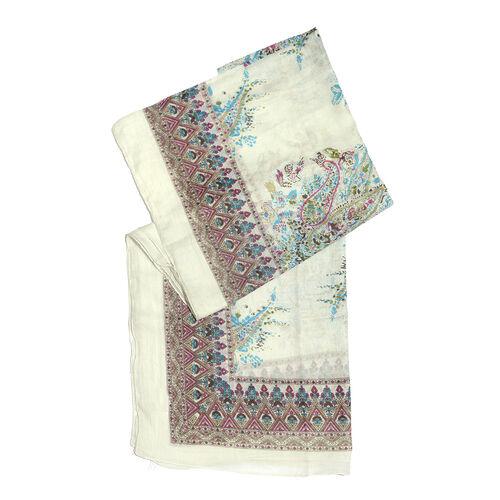 100% Cotton White, Blue and Multi Colour Scarf (Size 180x100 Cm)