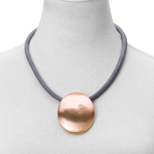 Oval Disc Necklace (Size 20 with 2 inch Extender) and Earrings (with French Clip) in Rose Gold Tone