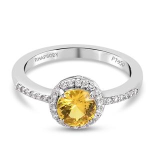 RHAPSODY 950 Platinum AAAA Yellow Sapphire and Diamond Ring 1.250 Ct