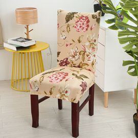 Set of 4 - Washable Dining Chair Removable Covers in Floral Pattern (Back Height 45-65 Cm, Seat Widt