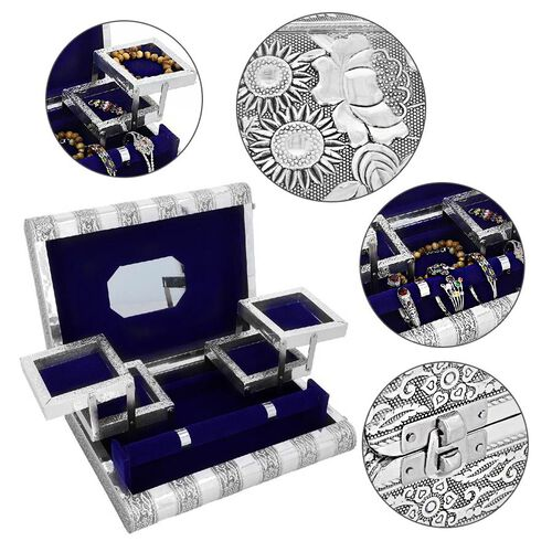 3D Embossed Collection Handcrafted Flower Oxidised Jewellery Box (Size 27.5x19 Cm) with Mirror and Blue Velvet Interior