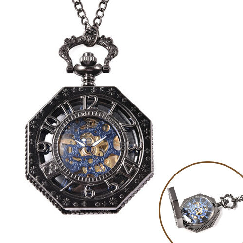 GENOA Automatic Mechanical Octagonal Hollow-Out Number Pattern Skeleton Pocket Watch with Chain in B