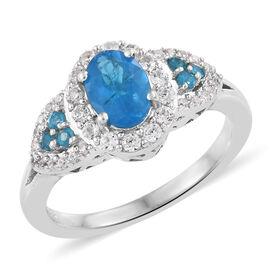 1.56 Ct Neon Apatite and Cambodian Zircon Halo Ring in Platinum Plated Sterling Silver