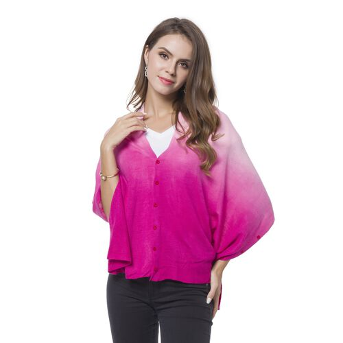 Italian Designer Inspired - Dark and Light Pink Colour Buttons Embellished Shawl (Size 156X50 Cm)