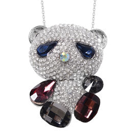 Multi Colour Simulated Gemstone and White Austrian Crystal Teddy Bear Brooch or Pendant With Chain (