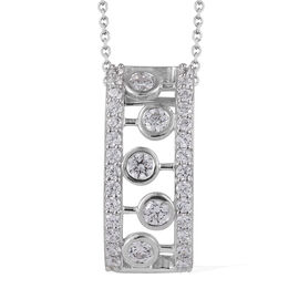 J Francis - Platinum Overlay Sterling Silver (Rnd) Pendant With Chain (Size 18) Made With SWAROVSKI